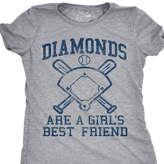 Diamonds are a Girl's Best Friend Baseball Shirt Design for Moms